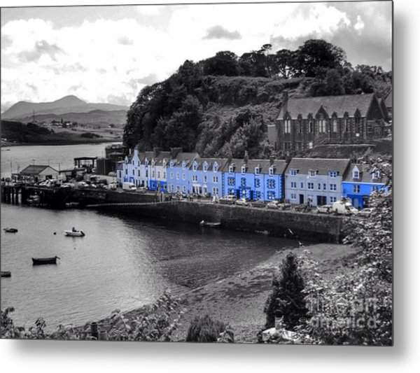 Blue Cottages At Portree Harbour 5 Metal Print