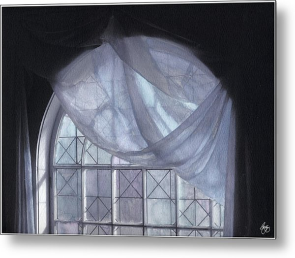 Hand-painted Blue Curtain In An Arch Window Metal Print