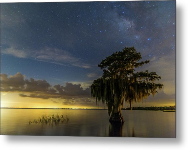 Blue Cypress Lake Nightsky Metal Print