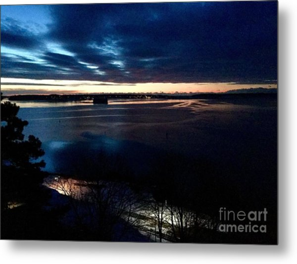 Blue Dawn On Casco Bay Metal Print