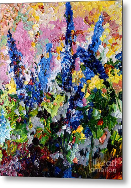 Blue Delphiniums Impressionist Oil Painting Metal Print
