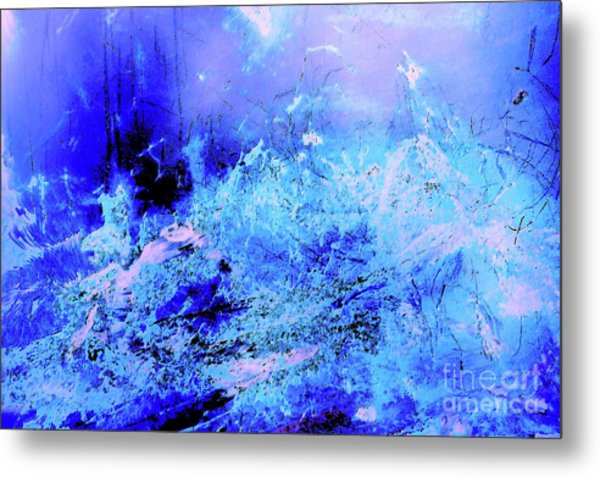Blue Digital Artwork With Dots And Stripes And Sandstone Finish Metal Print