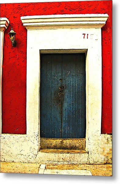 Blue Door By Michael Fitzpatrick Metal Print by Mexicolors Art Photography