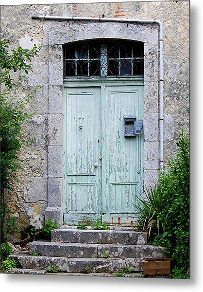 Blue Door In Vianne France Metal Print