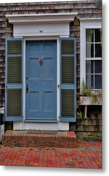 Nantucket Blue Door Metal Print by JAMART Photography
