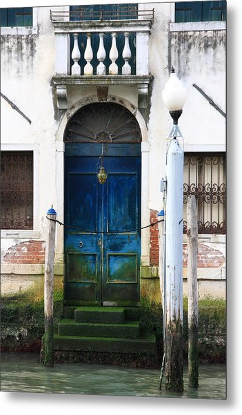 Blue Door On Grand Canal In Venice Metal Print by Michael Henderson