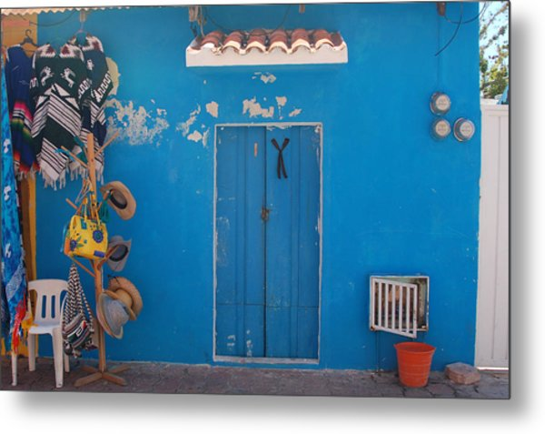 Blue Doors In Mexico Metal Print by Mary Pearson