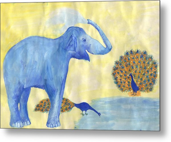 Blue Elephant Squirting Water In Progress Metal Print