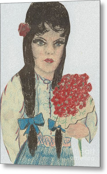 Blue Eyed Black Haired Girl Metal Print