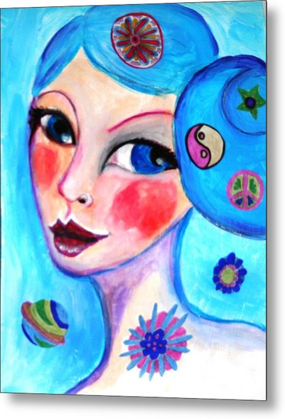 Blue Eyed Woman Metal Print