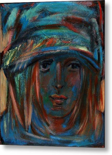 Blue Faced Girl Metal Print
