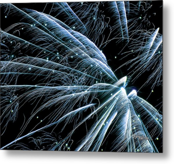 Blue Fairy Fireworks #0710_3 Metal Print