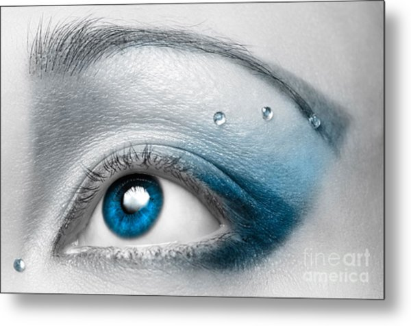 Blue Female Eye Macro With Artistic Make-up Metal Print