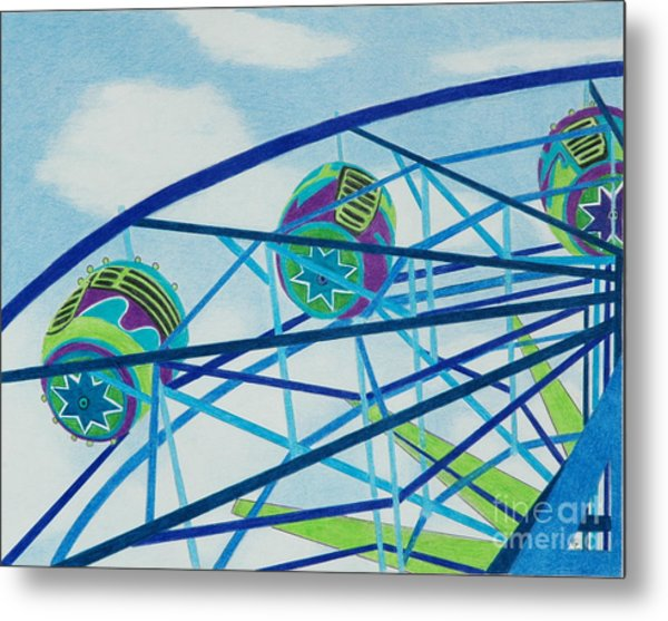 Blue Ferris Wheel Metal Print