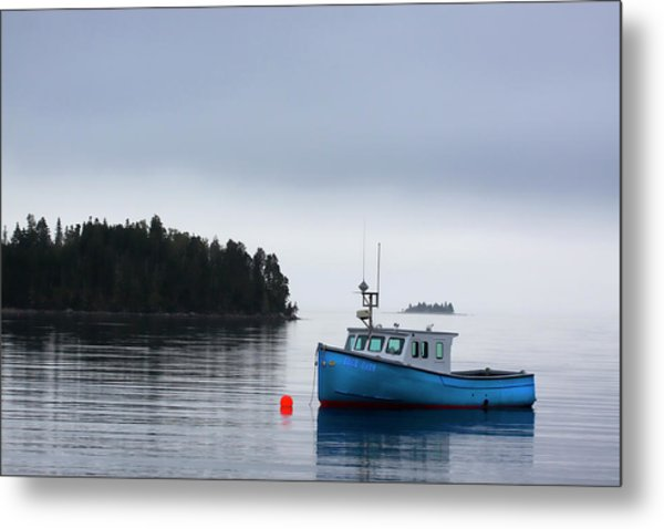 Blue Fishing Boat In Fog Metal Print