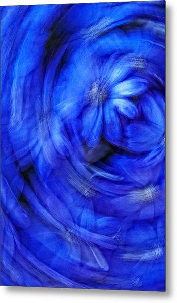 Blue Floral Swirl Metal Print