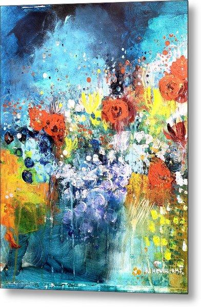 Blue Floral Metal Print by Wendy Mcwilliams