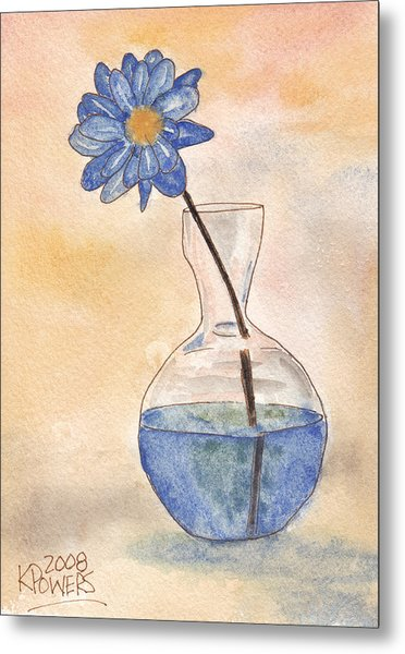 Blue Flower And Glass Vase Sketch Metal Print