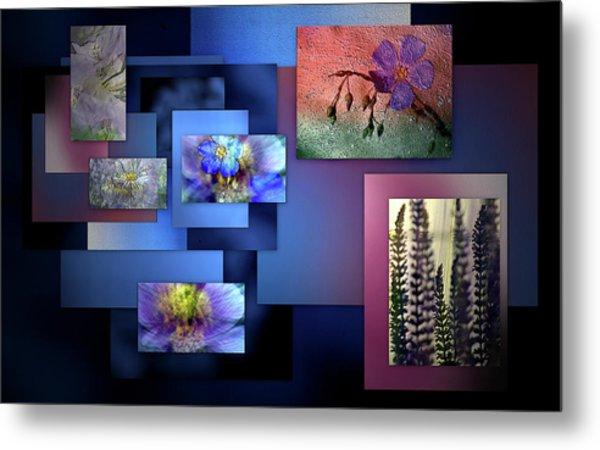 Blue Flower Collage Metal Print