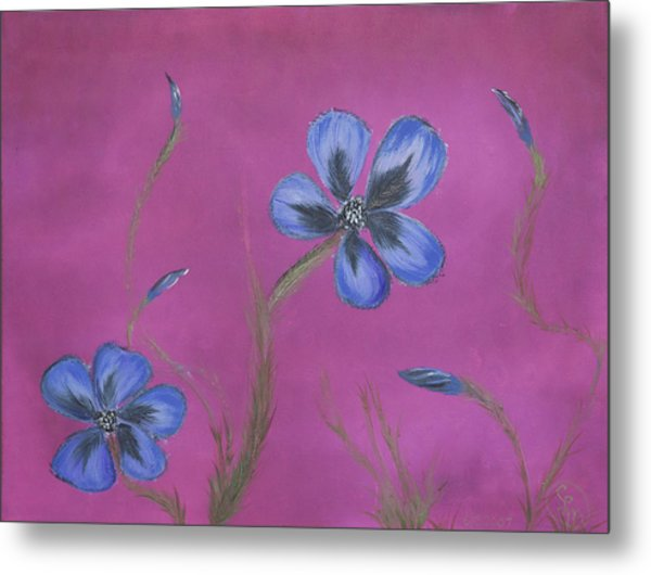 Blue Flower Magenta Background Metal Print