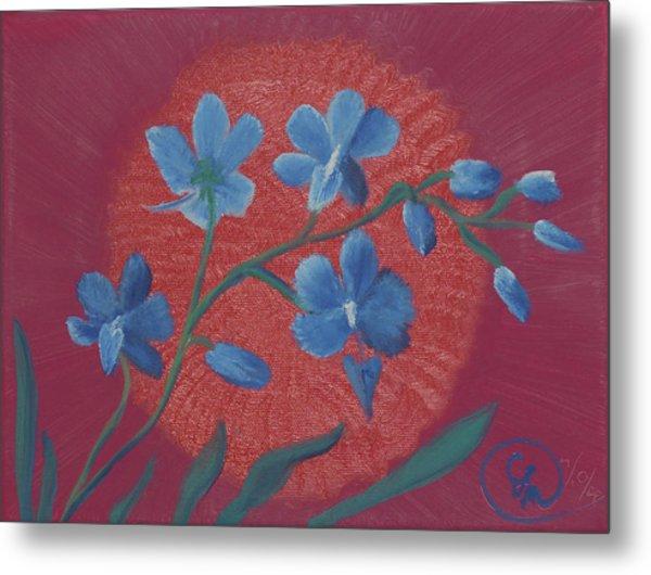 Blue Flower On Magenta Metal Print