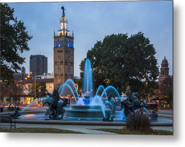 Blue Fountain Metal Print