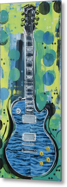 Blue Gibson Guitar Metal Print