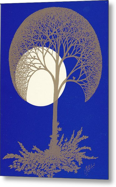 Blue Gold Moon Metal Print