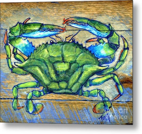 Blue Green Crab On Wood Metal Print