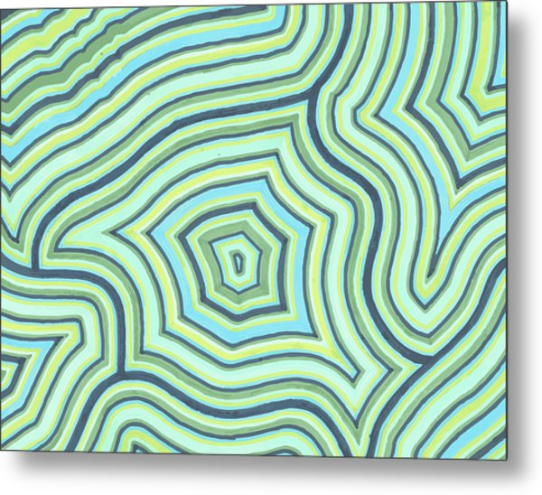 Blue Green Pattern Play Metal Print