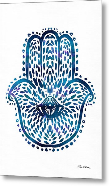 Blue Hamsa Hand Metal Print