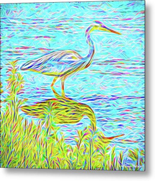 Blue Heron Reflections - Lake In Boulder County Colorado Metal Print