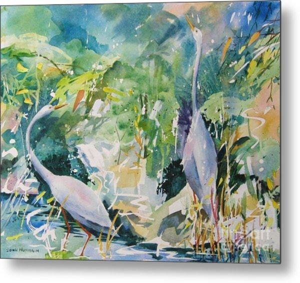 Blue Herons Metal Print