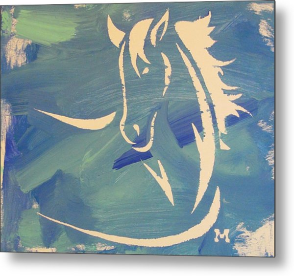 Blue Horse Sky Metal Print
