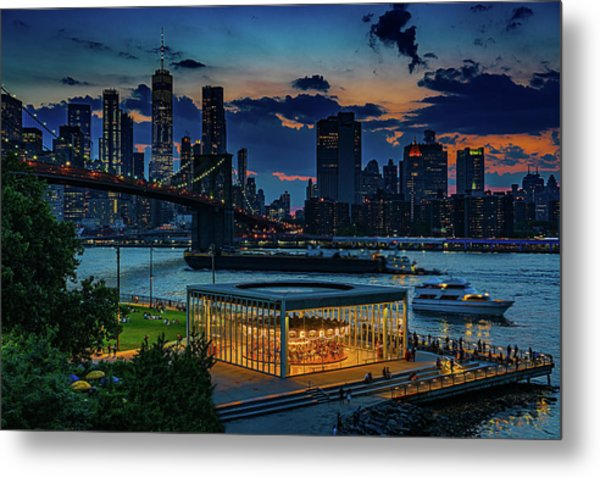 Metal Print featuring the photograph Blue Hour At Brooklyn Bridge Park by Chris Lord