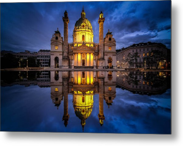 Blue Hour At Karlskirche Metal Print