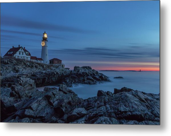 Blue Hour At Portland Head Light Metal Print