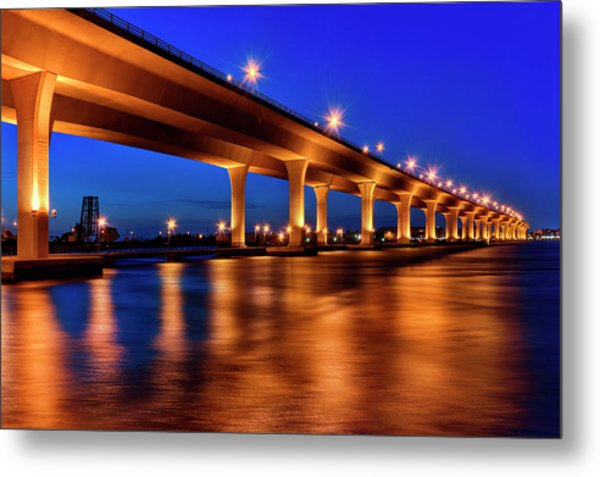 Blue Hour At Roosevelt Bridge In Stuart Florida  Metal Print