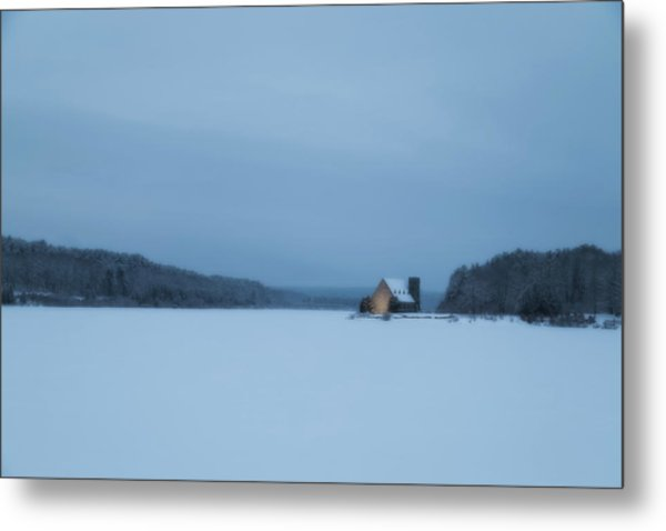 Blue Hour At The Old Stone Church Metal Print