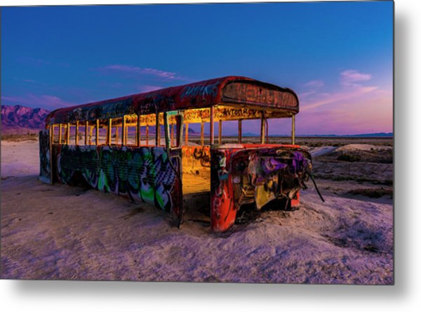 Blue Hour Bus Metal Print