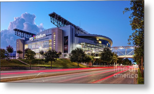 Blue Hour Photograph Of Nrg Stadium - Home Of The Houston Texans - Houston Texas Metal Print