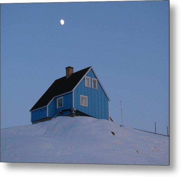 Blue House With Moon Metal Print by Sidsel Genee