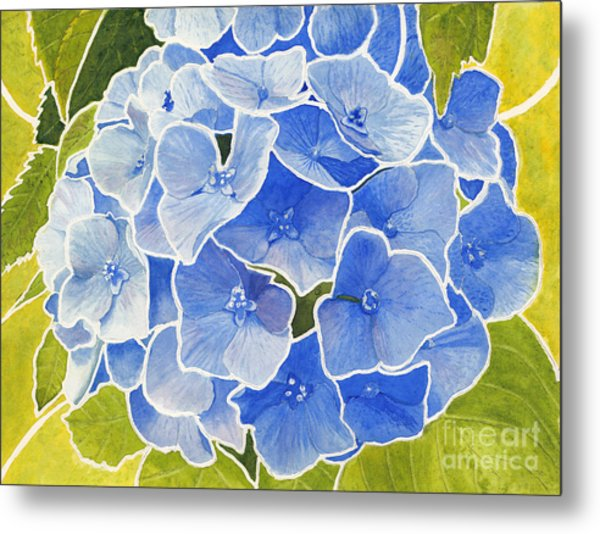 Blue Hydrangea Stained Glass Look Metal Print