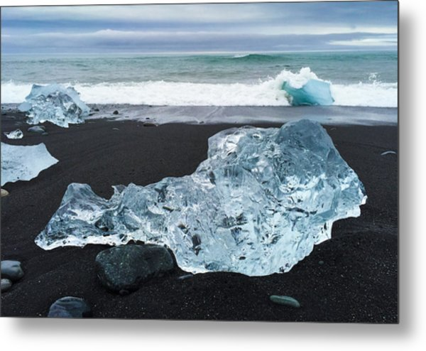 Blue Ice In Iceland Jokulsarlon Metal Print