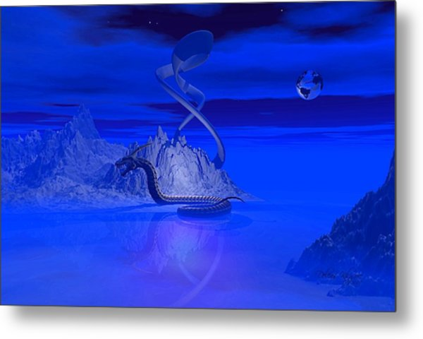 Blue Ice World Dragon Metal Print