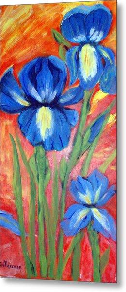 Blue Irises Metal Print by Lia  Marsman