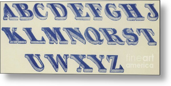 Blue Italian Shaded Font Metal Print