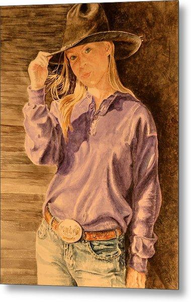 Blue Jean Cowgirl Metal Print