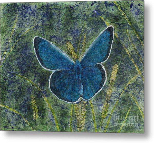Blue Karner Butterfly Watercolor Batik Metal Print