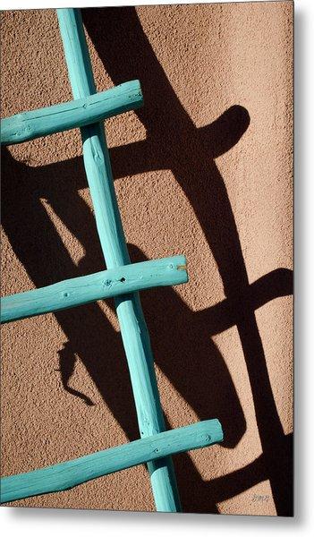 Blue Ladder And Shadow Metal Print by David Gordon